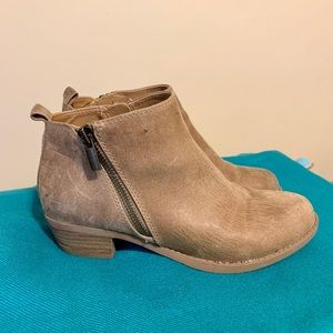 Distressed tan ankle boots